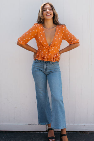 "10.5"" Rise Wide Leg Crop Jean / Medium Wash"