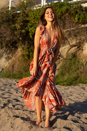 Pixel Palm Tie Front Hi-Lo Dress / Salmon