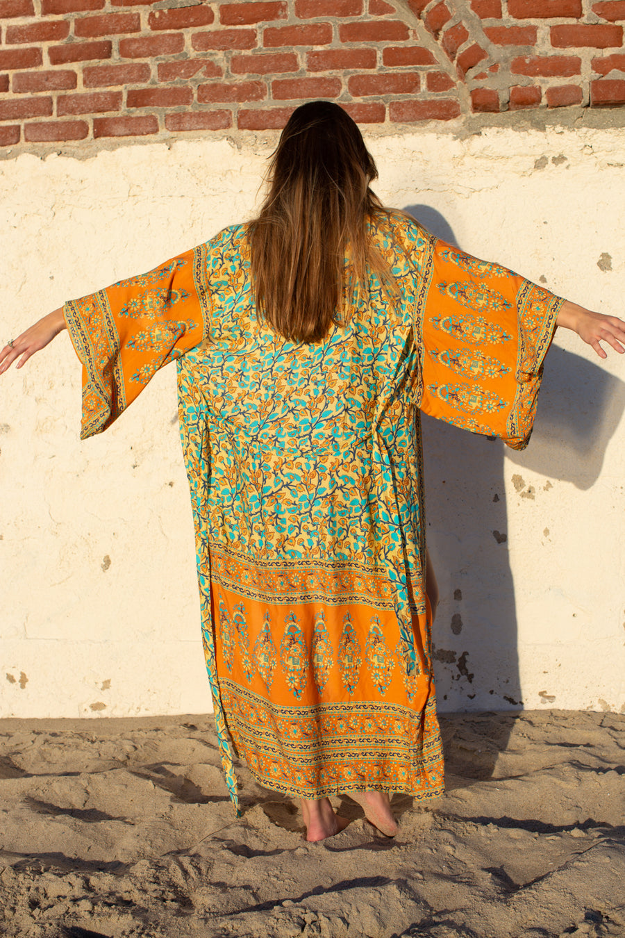 Long Moroccon Border Kimono / Orange
