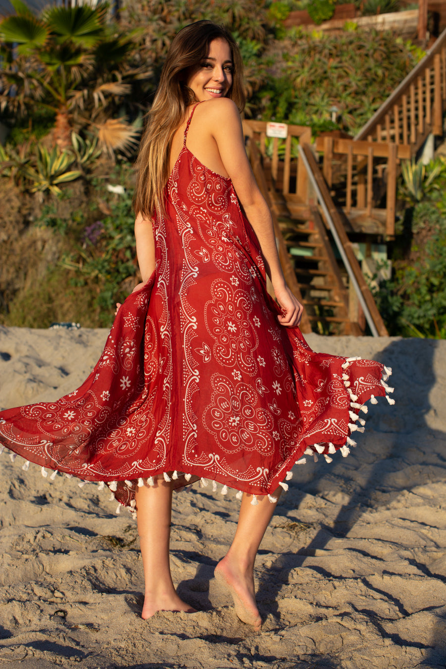 Paisley Tassled Scarf Dress / Wine
