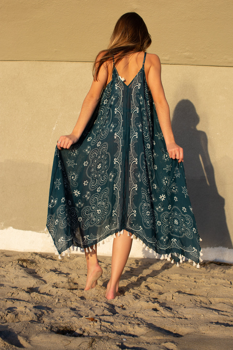 Paisley Tassled Scarf Dress / Teal