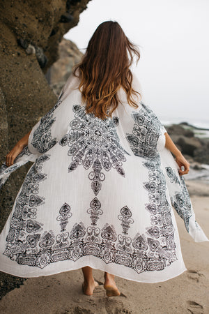 Medallion Print Long Shawl Cover Up / Ivory
