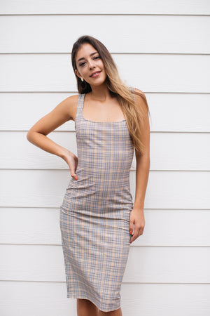 Mini Plaid Dion Midi Dress / Mustard