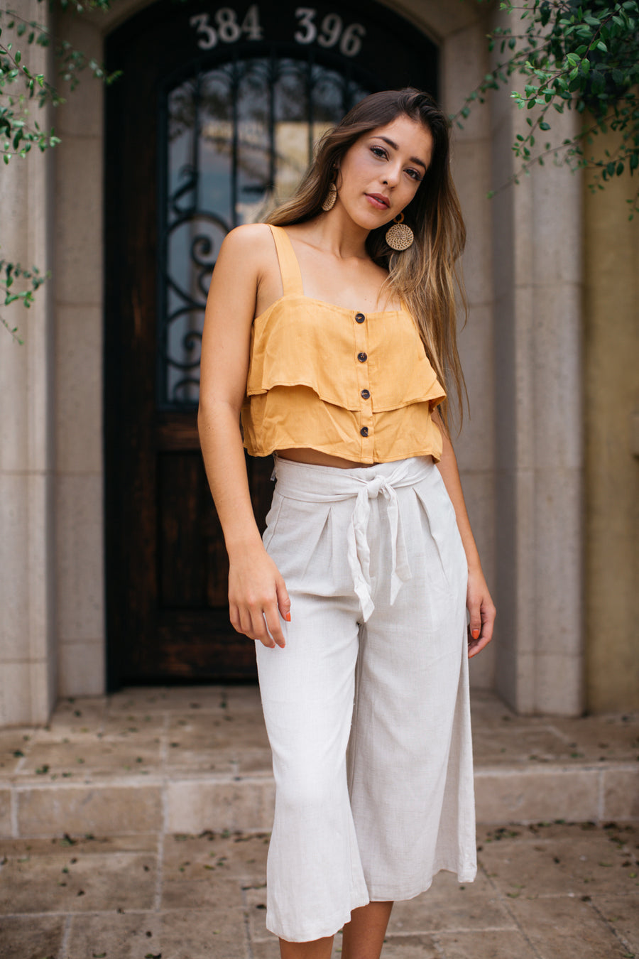 Rayon Linen Sash Wide Leg Crop Pant / Natural