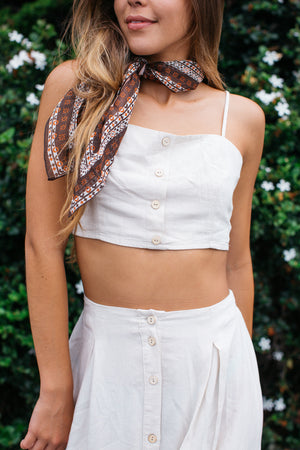 Button Front Sash Back Crop Cami Top / Natural