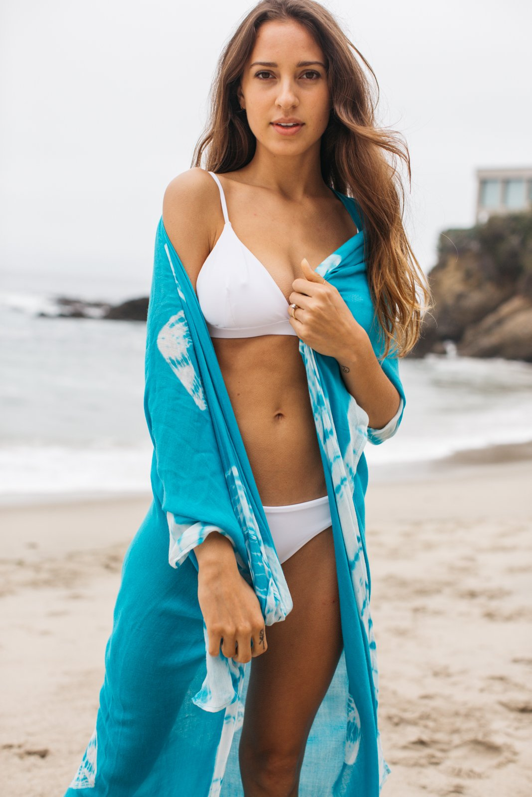 Tie Dye Cardigan Cover Up / Turquoise