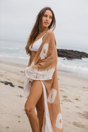 Tie Dye Cardigan Cover Up / Tan