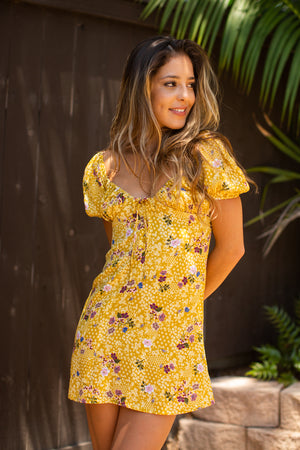 Multi Floral Puff Cap Sleeve Short Dress / Chartreuse