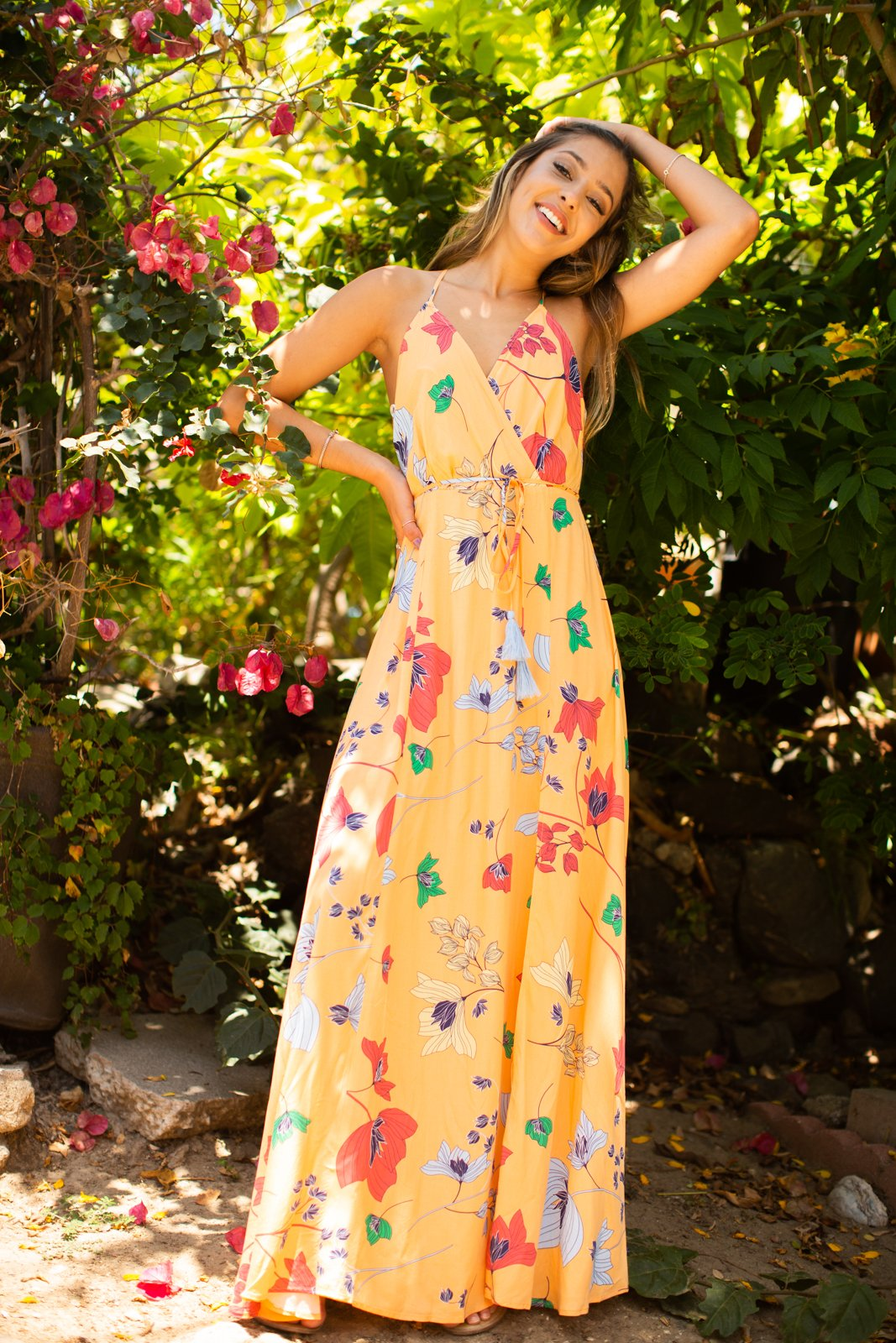 Peach Floral Cross Front Maxi Dress / Multi