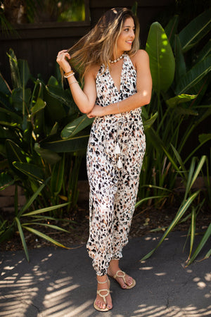 Animal Print Jumpsuit / Natural