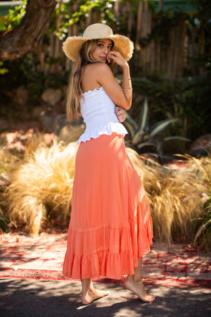 Ruffled Wrap Skirt / Coral