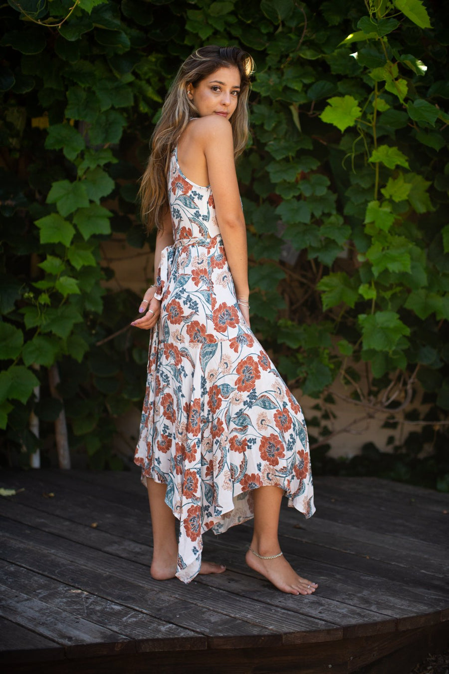 Rust Floral Wrap Tank Dress / Natural