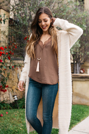 Faux Mohair Long Cardigan Sweater / Natural