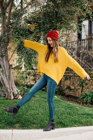 V Neck Bell Sleeve Sweater / Mustard