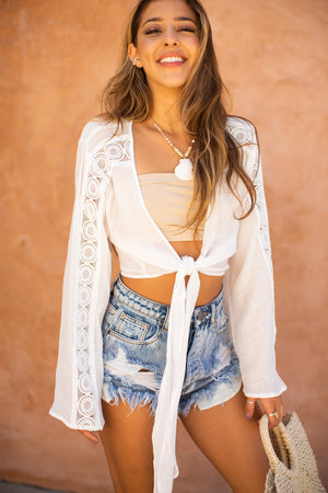 Long Sleeve Tie Front Lace Trim Top / White