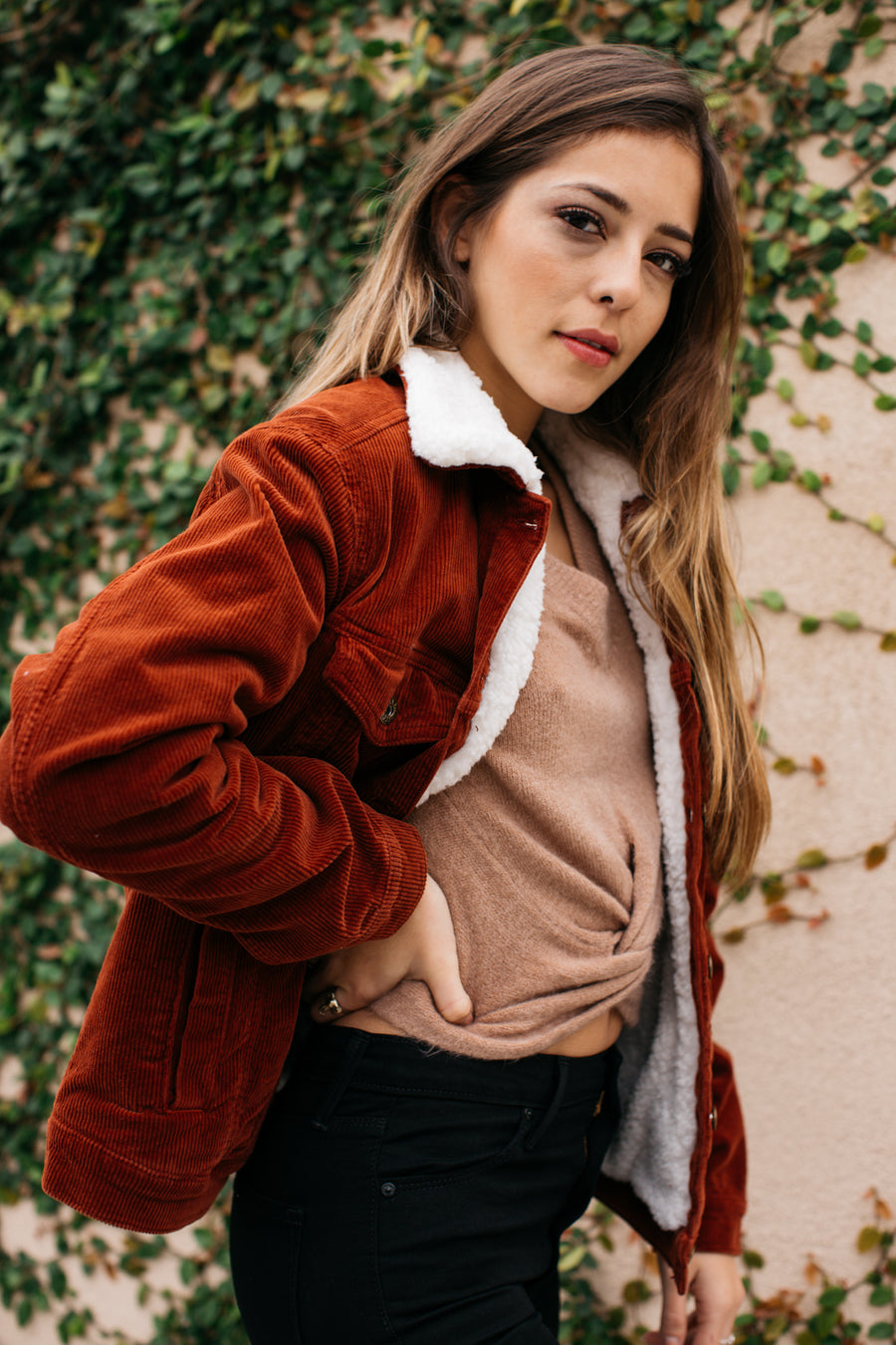 Fleece Lined Corduroy Jacket / Rust