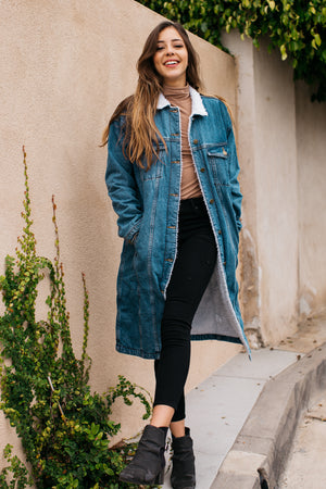 Warm Sherpa Lined Denim Ranch Coat / Denim
