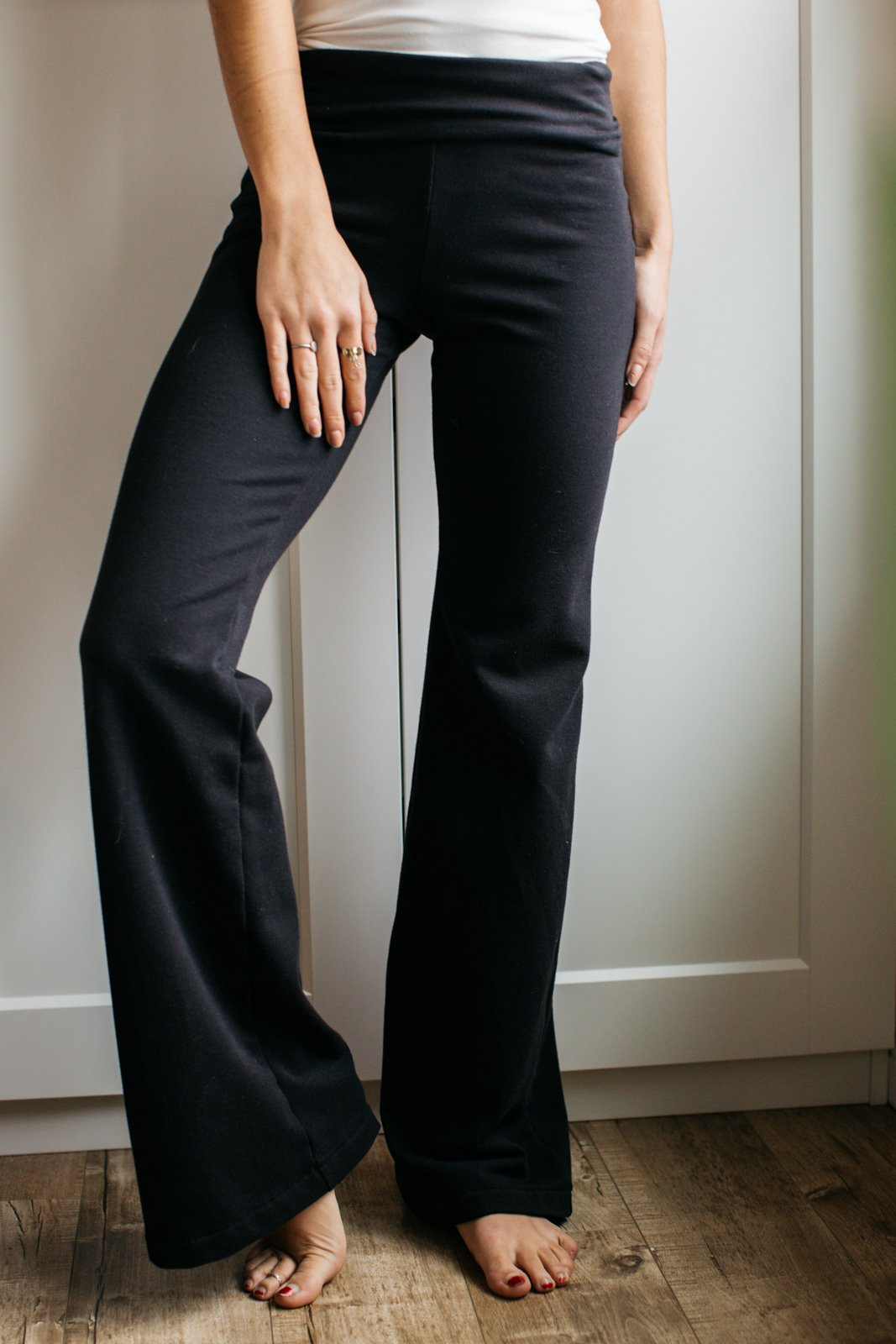 French Terry Roll Down Pant / Long Length / Black