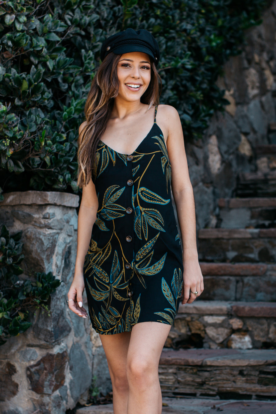 Midnight Leaf Button Up Cami Dress / Black