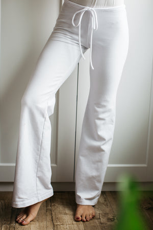 French Terry Drawstring Pant / Regular Length / White