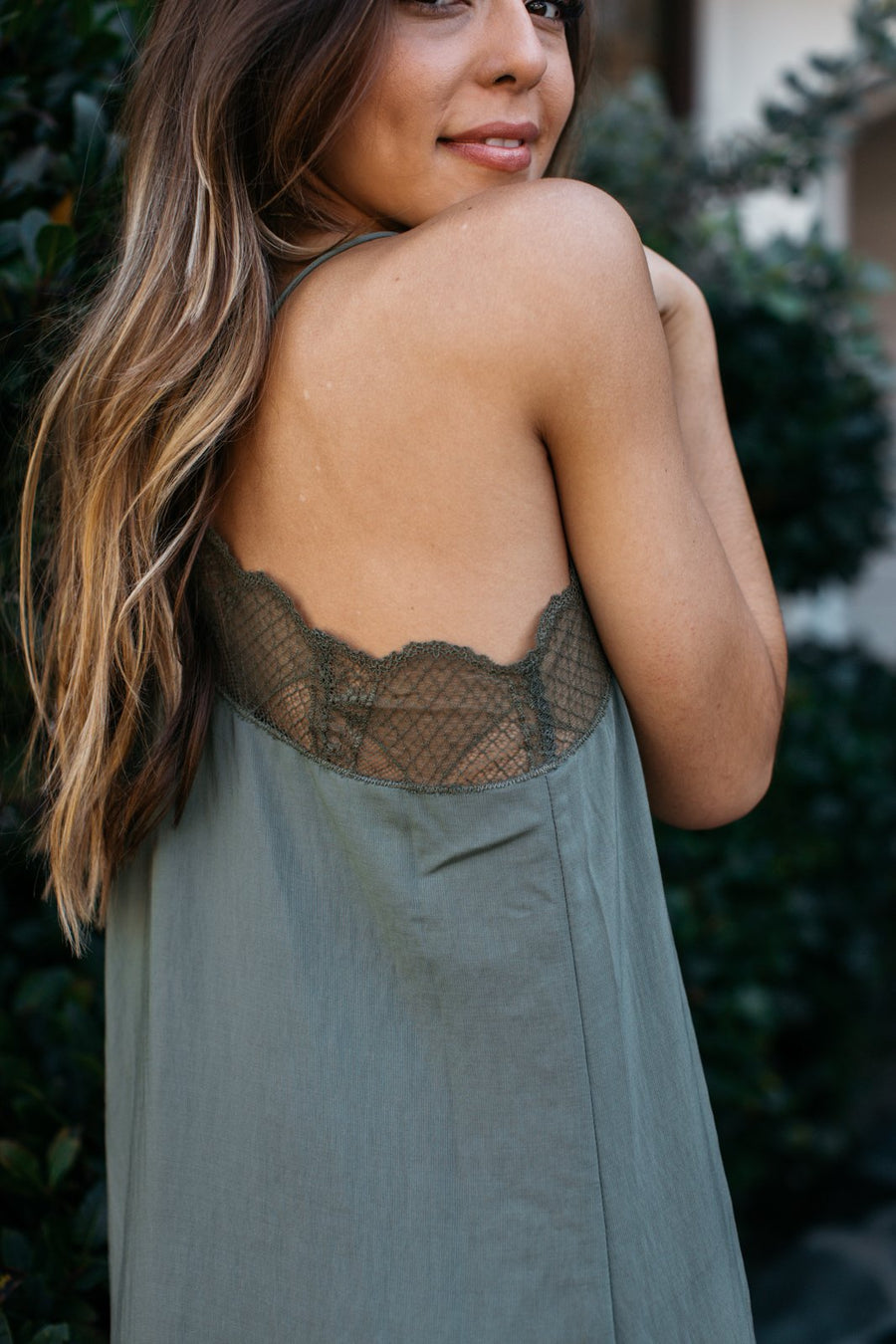 Lace Trimmed Slip Dress / Olive
