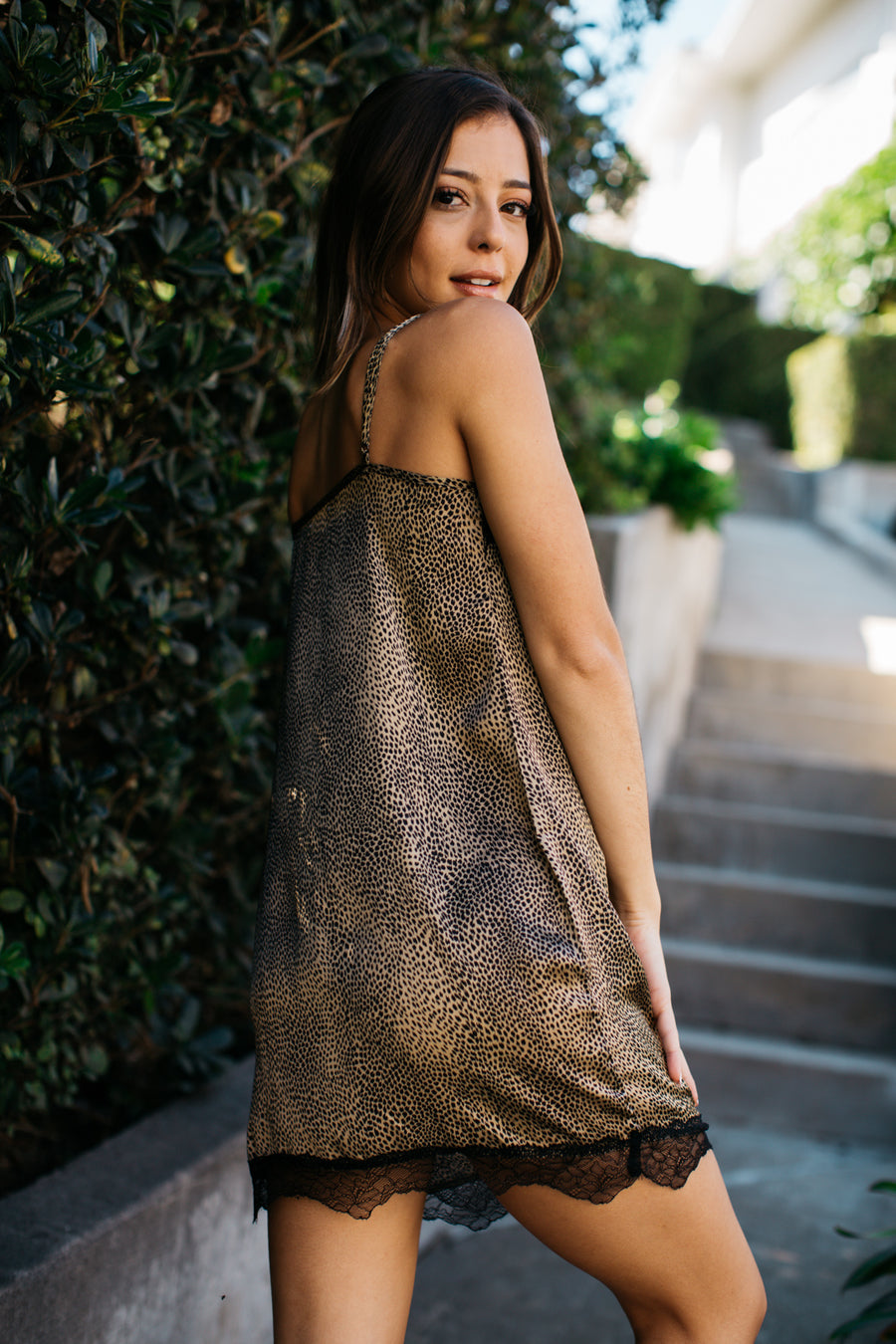 Leopard Lace Trim Slip Dress / Mustard