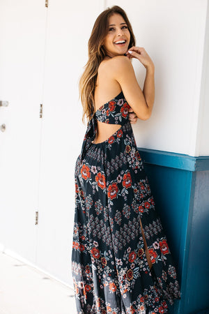 Folk Sash Back Halter Maxi Dress / Black
