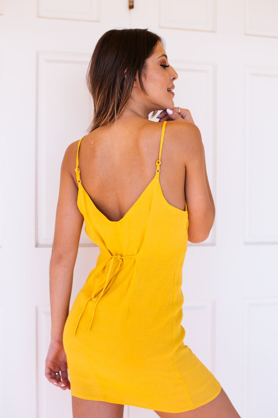 Button Front Cami Mini Dress / Yellow