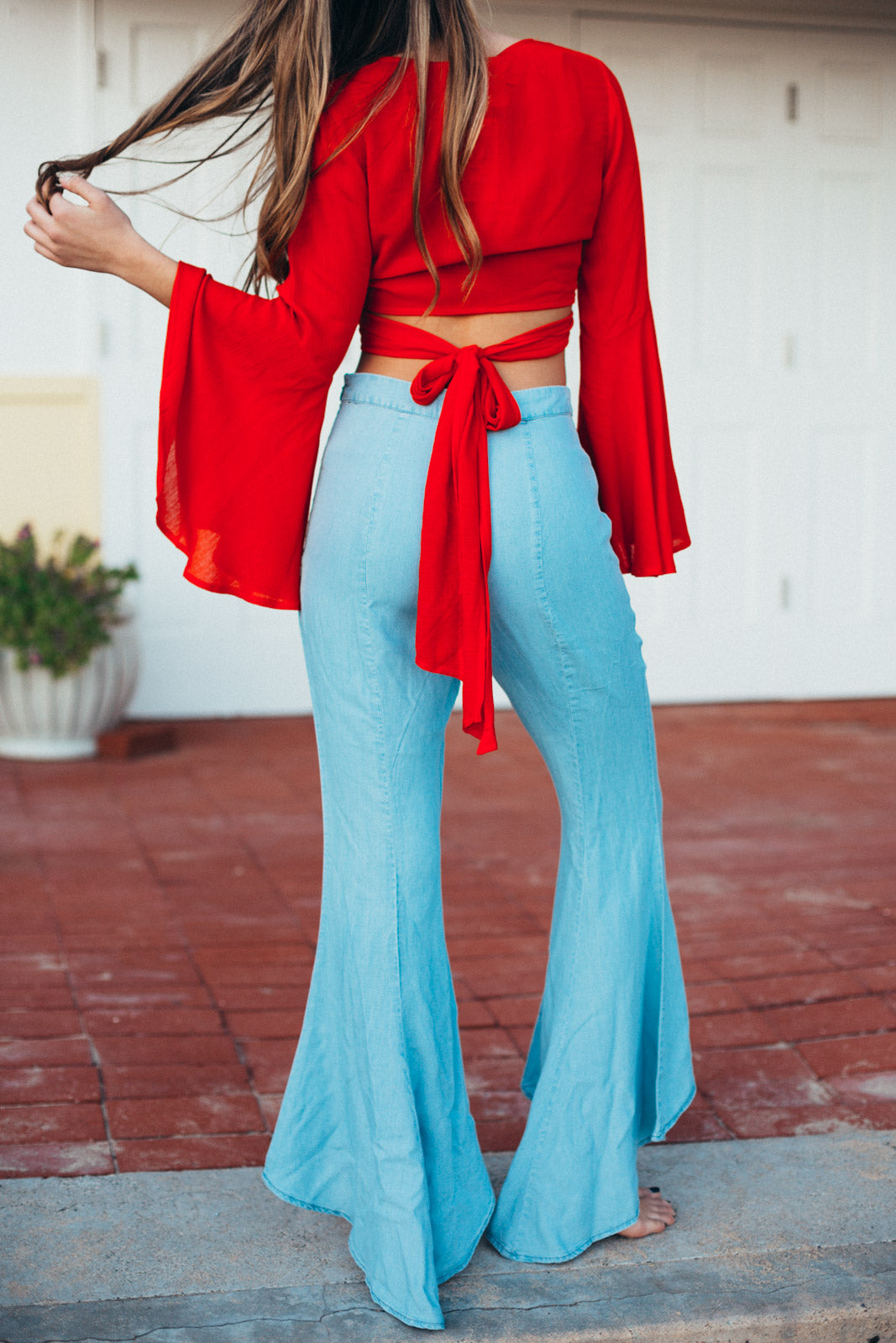 Chambray Tulip Flare Pant / Light