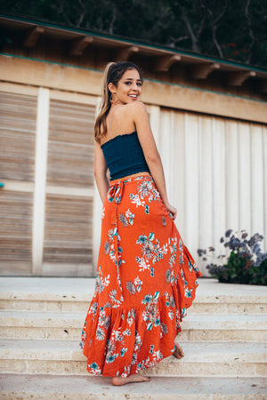 Floral Hi Low Wrap Skirt / Coral