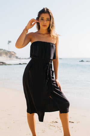 Strapless Ruffle Top Midi Dress / Black