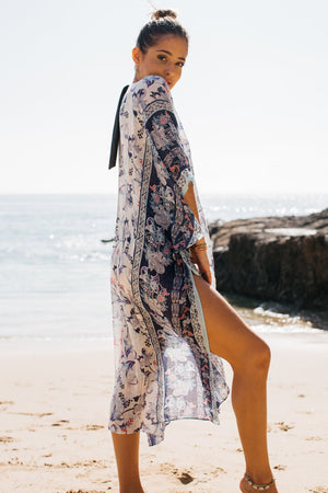 Floral Border Print Long Open Front Kaftan / Blue