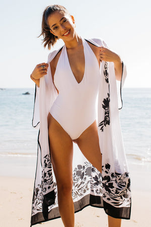 Floral Applique Long Open Front Kaftan / White