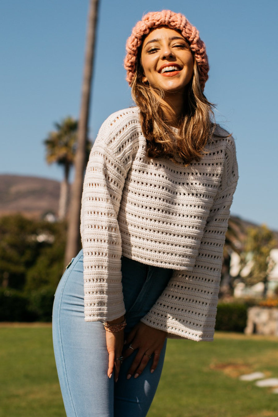 Pointelle Crochet Long Sleeve Sweater / Natural