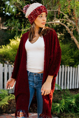 Yarn Knit Short Sleeve Fringe Cardigan / Wine