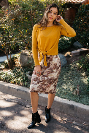 Animal Print Biased Midi Skirt / Brown