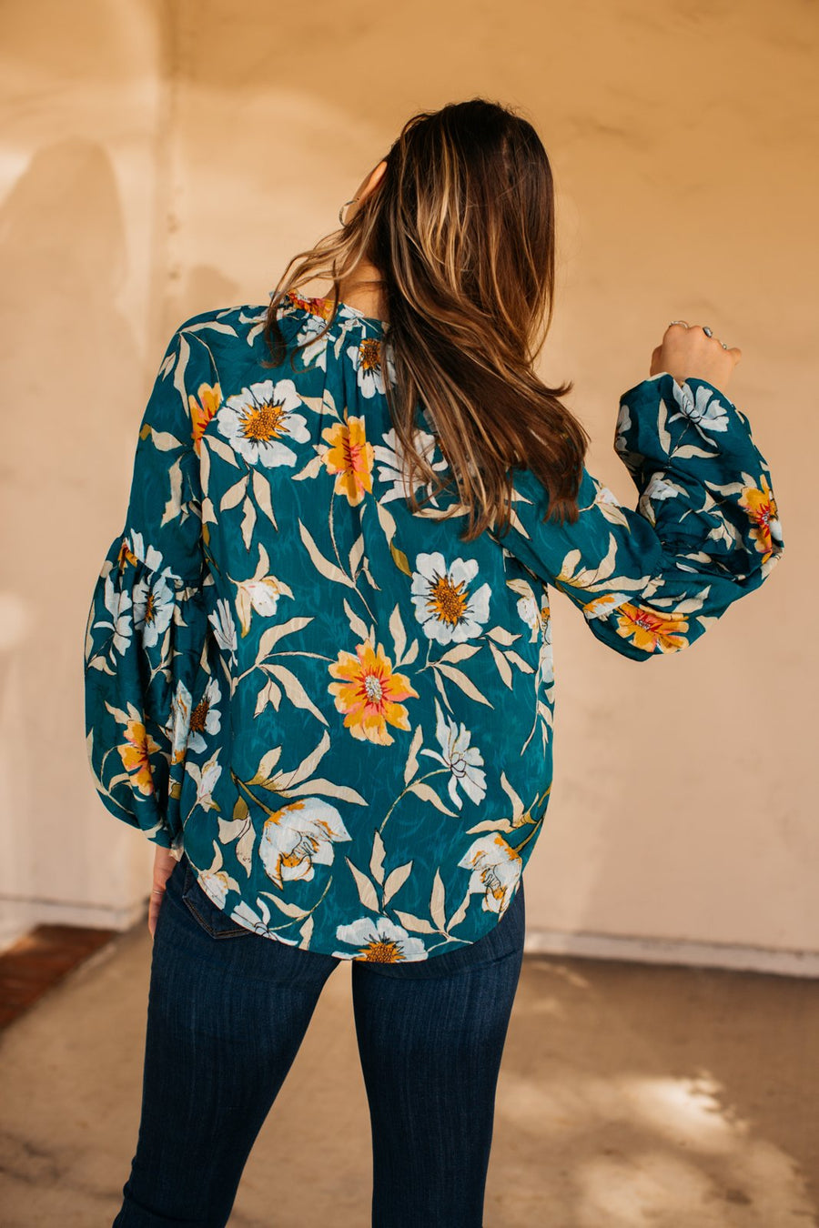 Rustic Floral Balloon Sleeve Top / Teal