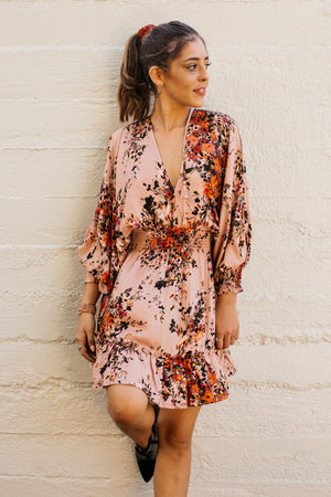 Fall Bouquet Split Sleeve Short Dress / Blush