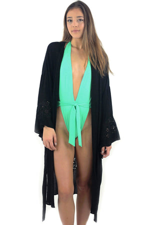 Crochet Embroidered Kimono Cardigan / Black