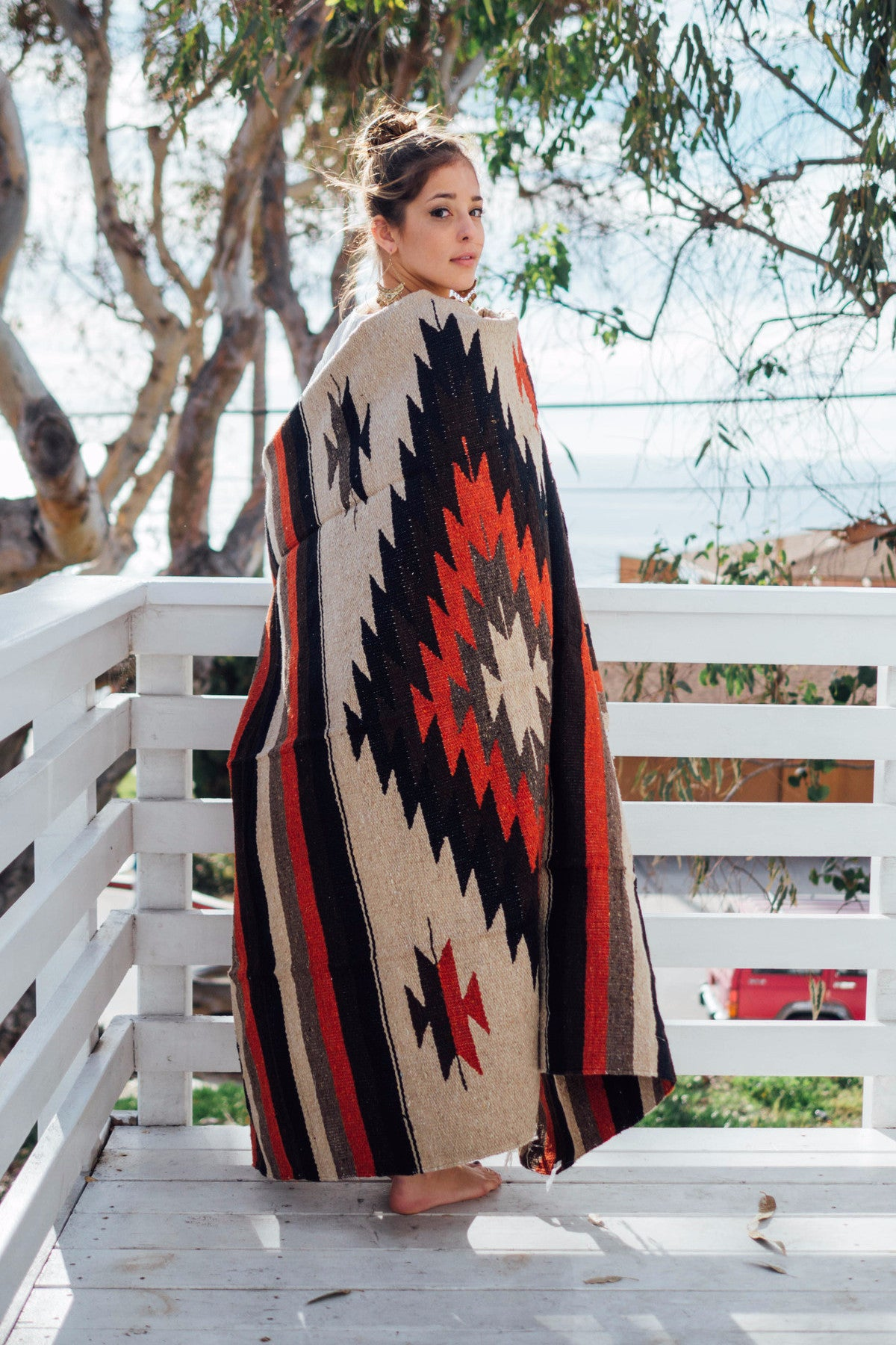 Mexican Indian Diamond Blanket / Brick