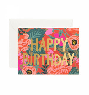Poppy Happy Birthday Card / Ivory Envelope