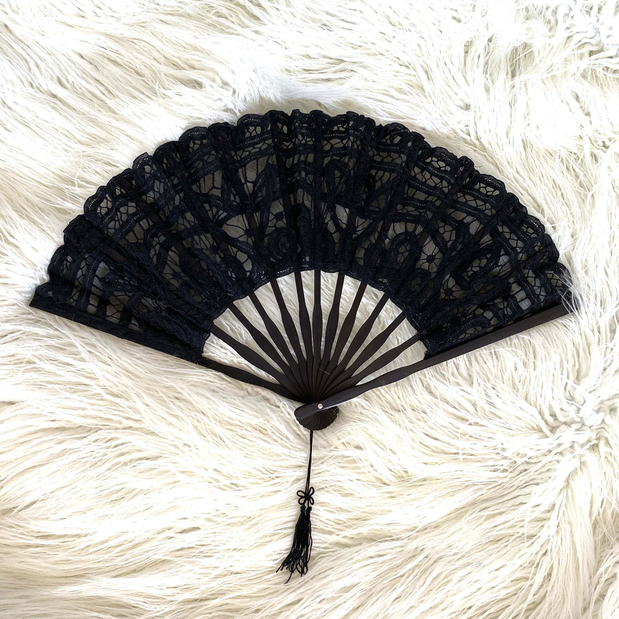 Lace Hand Fan / Black