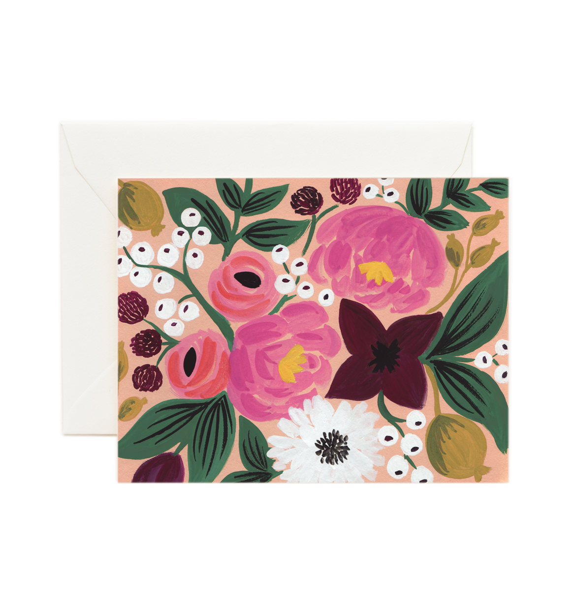 Vintage Blossoms Peach Blank Card / Ivory Envelope