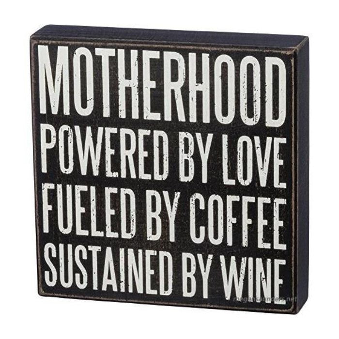 Motherhood Wood Block Sign / Black