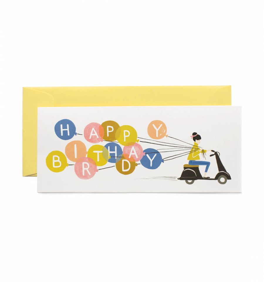 Happy Birthday Scooter Card / Yellow Envelope