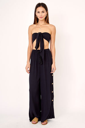 Gauze Coco Button Side Resort Pant / Black