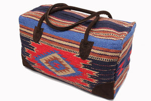 Mexican Blanket Duffle Travel Bag / Blue