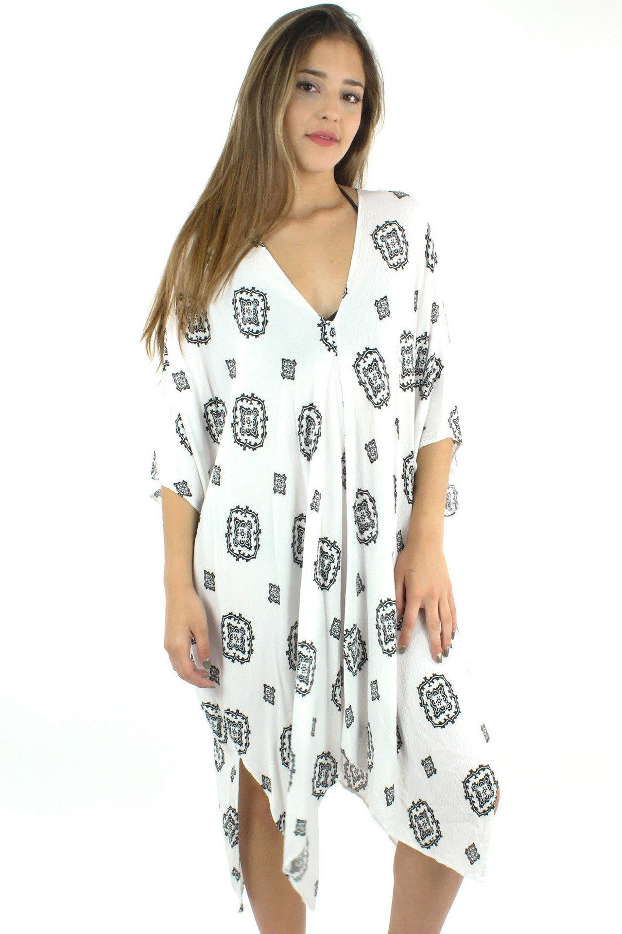 Gauze Stamp Print Poncho Cover Up / White