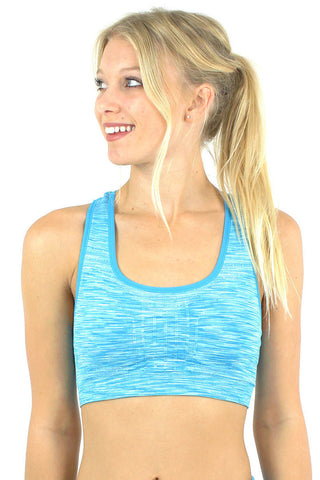 Space Knit Padded Sports Bra / Turquoise