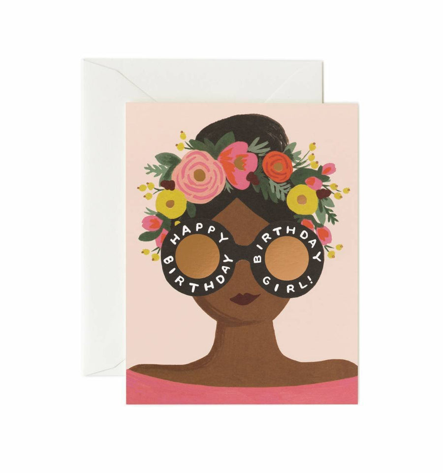 Flower Crown Birthday Girl Card / Ivory Envelope